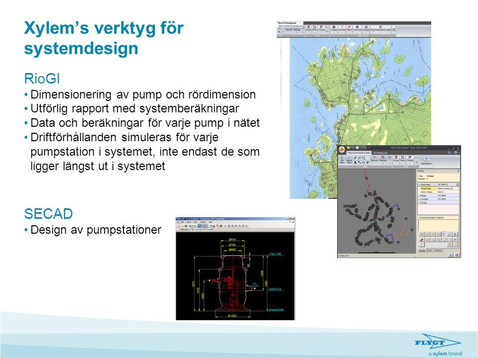 Xylem's verktyg för systemdesign RioGl •Dimensionering av pump och rördimension •Utförlig rapport med systemberäkningar •Data och beräkningar för varj