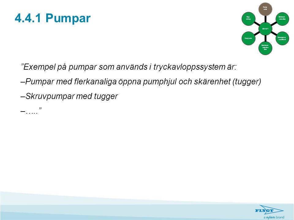 """4.4.1 Pumpar """"Exempel på pumpar som används i tryckavloppssystem är: –Pumpar med flerkanaliga öppna pumphjul och skärenhet (tugger) –Skruvpumpar med t"""