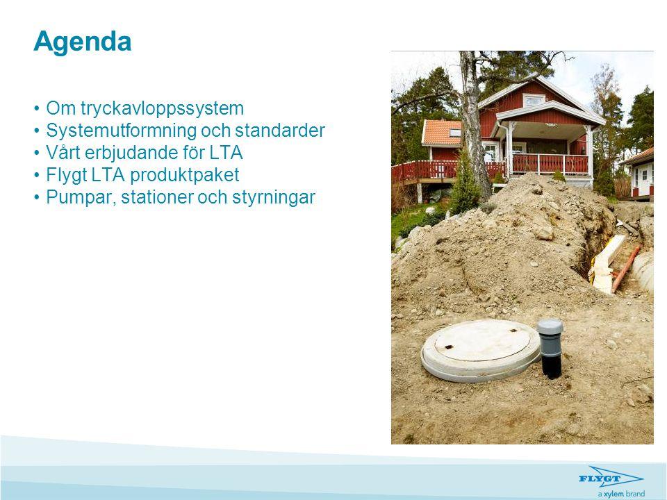 Agenda •Om tryckavloppssystem •Systemutformning och standarder •Vårt erbjudande för LTA •Flygt LTA produktpaket •Pumpar, stationer och styrningar