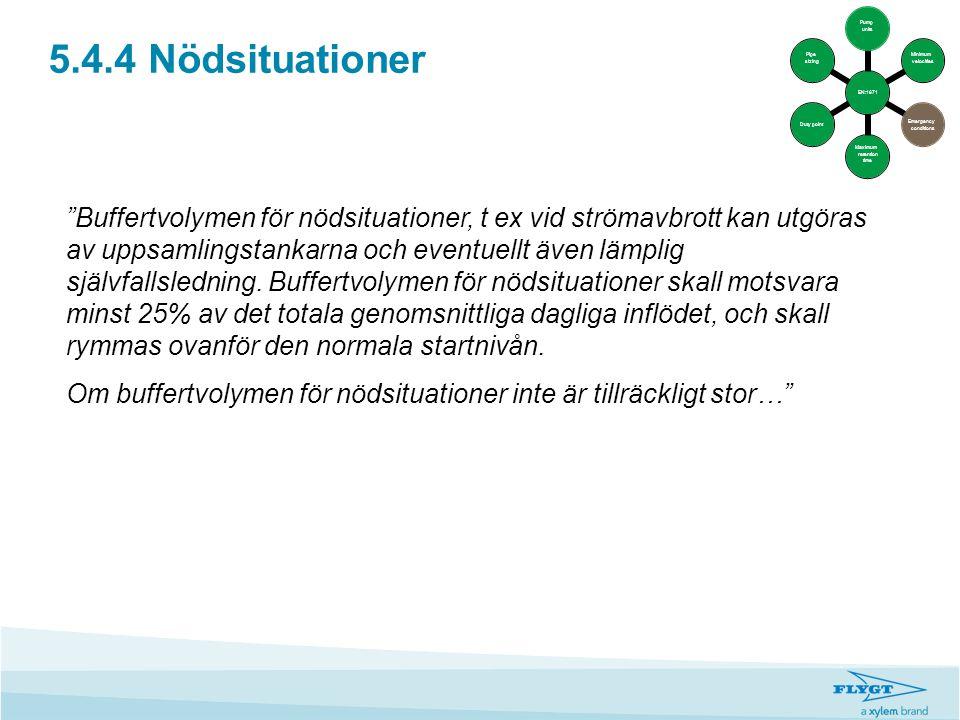 """5.4.4 Nödsituationer """"Buffertvolymen för nödsituationer, t ex vid strömavbrott kan utgöras av uppsamlingstankarna och eventuellt även lämplig självfal"""