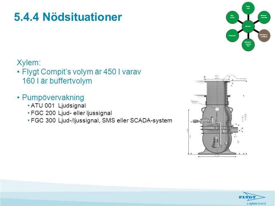 5.4.4 Nödsituationer Xylem: •Flygt Compit's volym är 450 l varav 160 l är buffertvolym •Pumpövervakning •ATU 001Ljudsignal •FGC 200 Ljud- eller ljussi