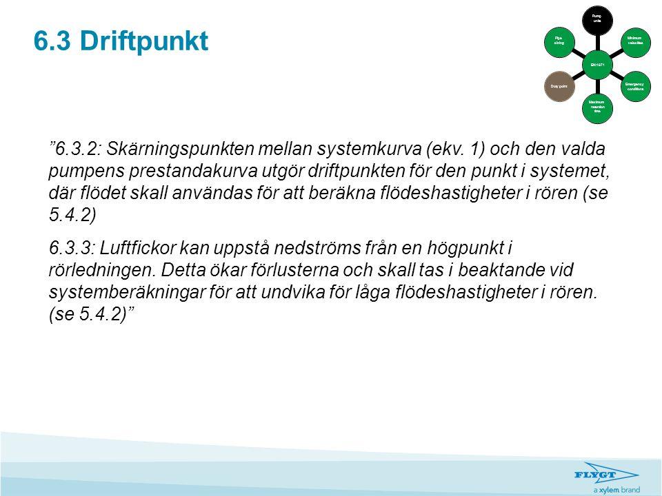 """6.3 Driftpunkt """"6.3.2: Skärningspunkten mellan systemkurva (ekv. 1) och den valda pumpens prestandakurva utgör driftpunkten för den punkt i systemet,"""