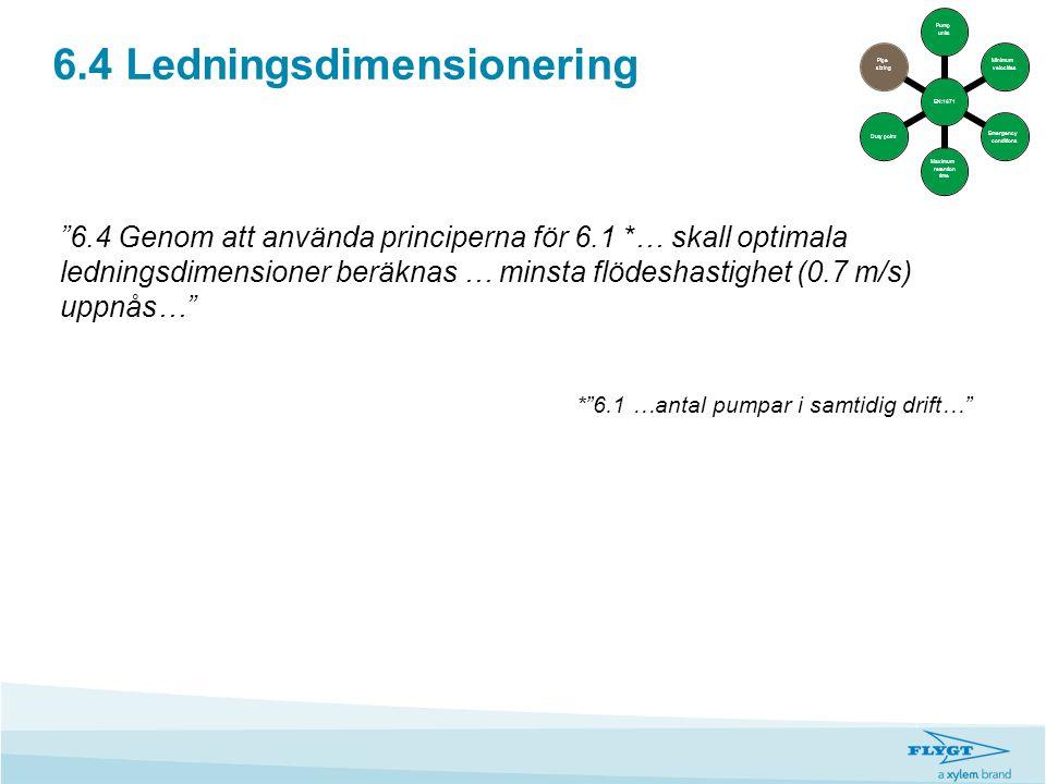 """6.4 Ledningsdimensionering """"6.4 Genom att använda principerna för 6.1 *… skall optimala ledningsdimensioner beräknas … minsta flödeshastighet (0.7 m/s"""