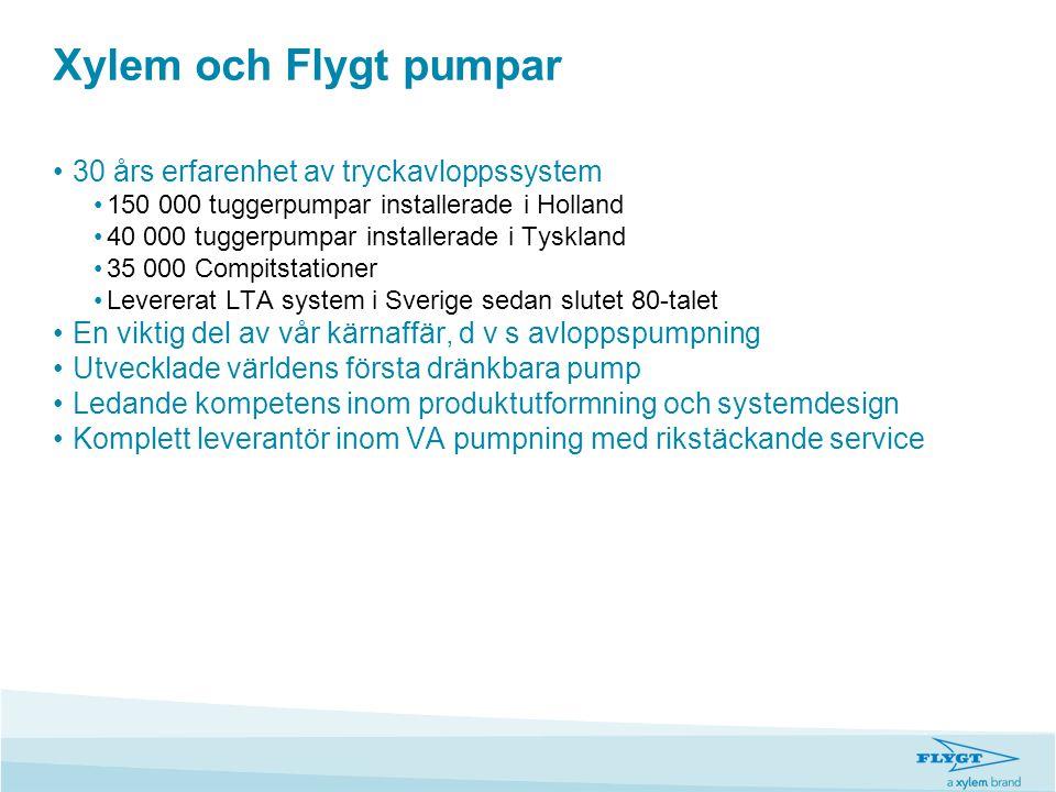 Xylem och Flygt pumpar •30 års erfarenhet av tryckavloppssystem •150 000 tuggerpumpar installerade i Holland •40 000 tuggerpumpar installerade i Tyskl