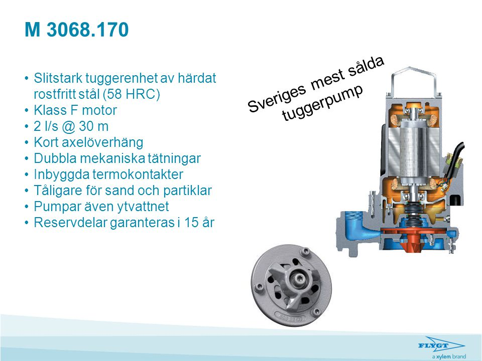 M 3068.170 •Slitstark tuggerenhet av härdat rostfritt stål (58 HRC) •Klass F motor •2 l/s @ 30 m •Kort axelöverhäng •Dubbla mekaniska tätningar •Inbyg