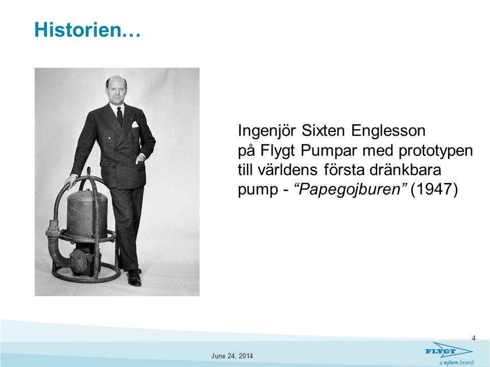 """June 24, 2014 4 Historien… Ingenjör Sixten Englesson på Flygt Pumpar med prototypen till världens första dränkbara pump - """"Papegojburen"""" (1947)"""