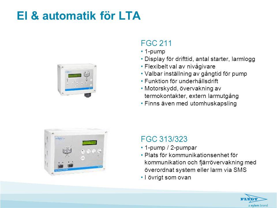El & automatik för LTA FGC 211 •1-pump •Display för drifttid, antal starter, larmlogg •Flexibelt val av nivågivare •Valbar inställning av gångtid för