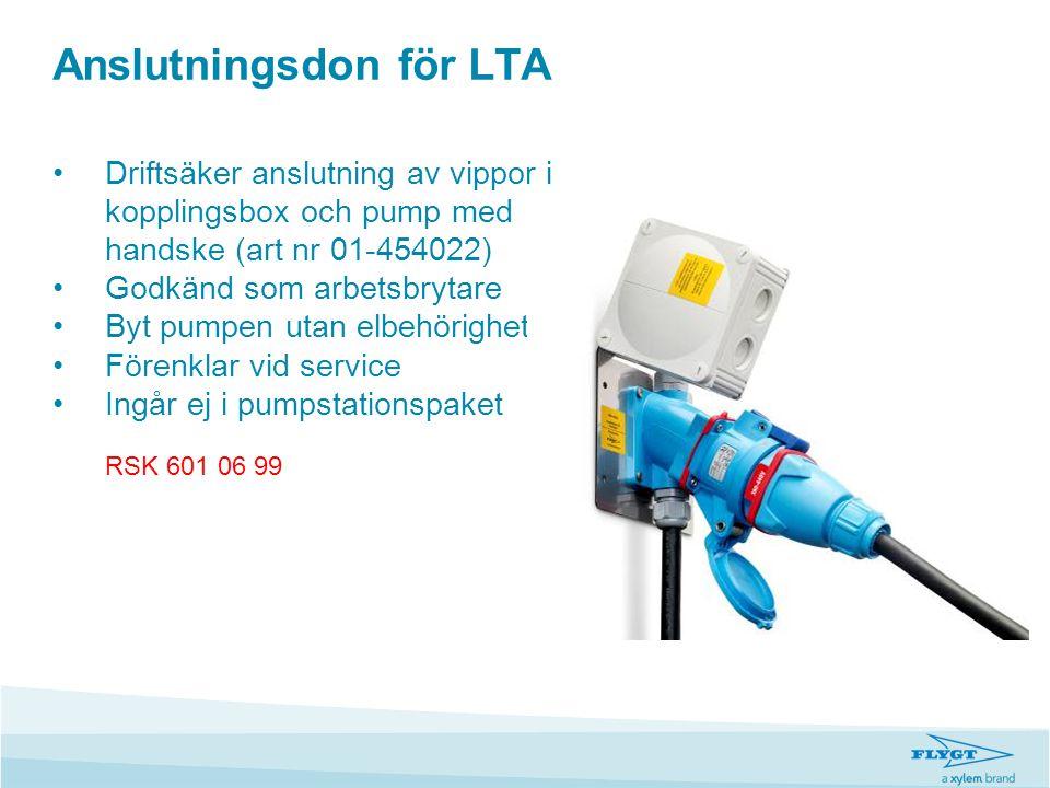 Anslutningsdon för LTA •Driftsäker anslutning av vippor i kopplingsbox och pump med handske (art nr 01-454022) •Godkänd som arbetsbrytare •Byt pumpen