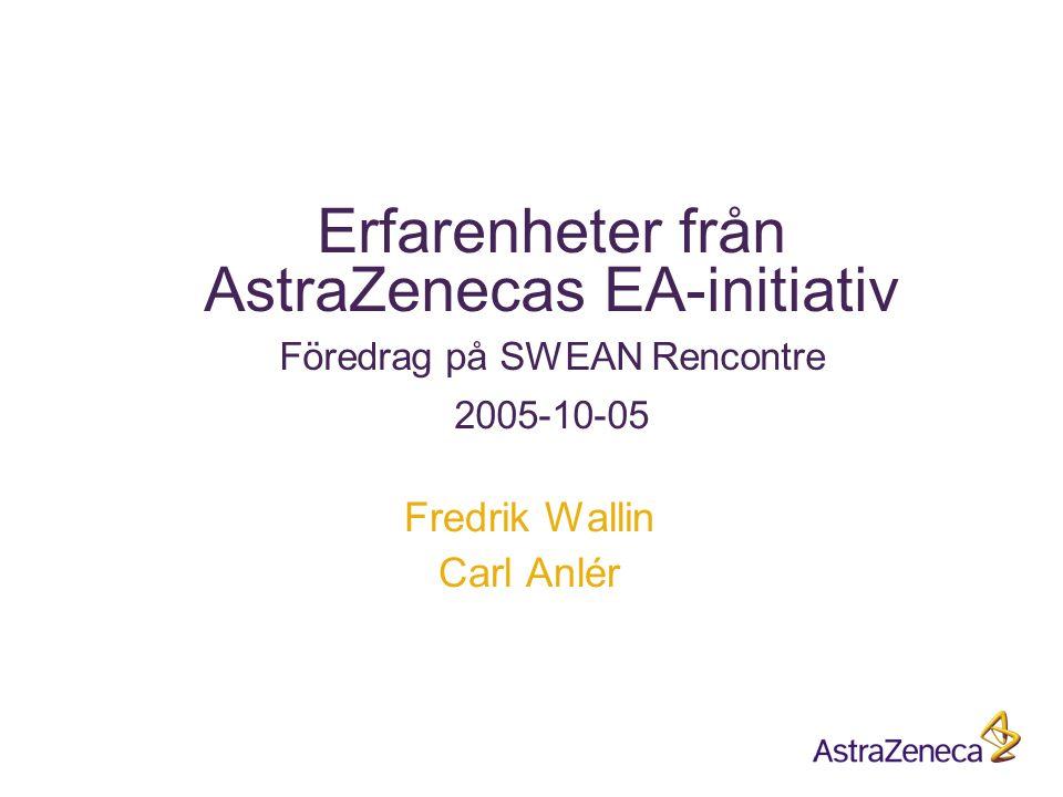 Erfarenheter från AstraZenecas EA-initiativ Föredrag på SWEAN Rencontre 2005-10-05 Fredrik Wallin Carl Anlér