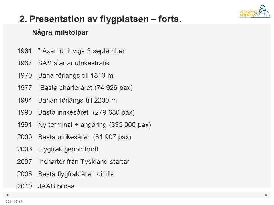 """◄ ► 2. Presentation av flygplatsen – forts. Några milstolpar 1961 """" Axamo"""" invigs 3 september 1967 SAS startar utrikestrafik 1970 Bana förlängs till 1"""