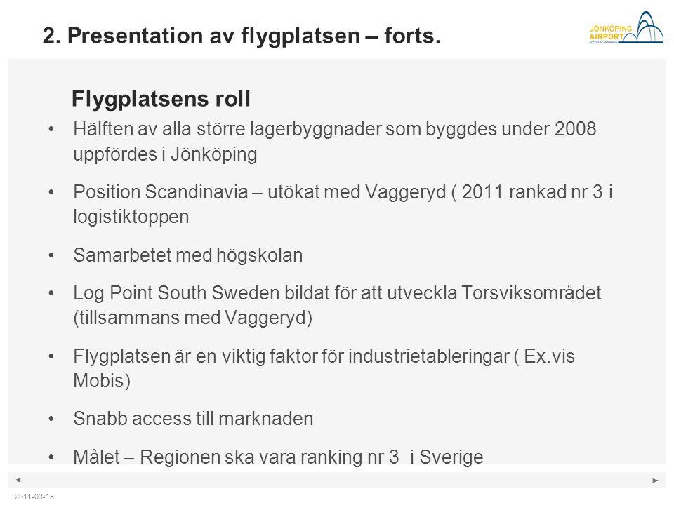 ◄ ► •Hälften av alla större lagerbyggnader som byggdes under 2008 uppfördes i Jönköping •Position Scandinavia – utökat med Vaggeryd ( 2011 rankad nr 3