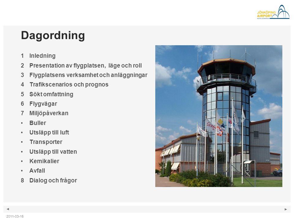 ◄ ► 2011-03-15 Dagordning 1Inledning 2Presentation av flygplatsen, läge och roll 3Flygplatsens verksamhet och anläggningar 4Trafikscenarios och progno