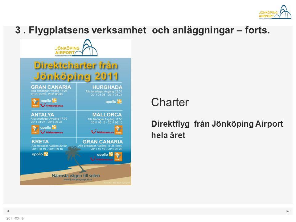 ◄ ► Charter Direktflyg från Jönköping Airport hela året 3. Flygplatsens verksamhet och anläggningar – forts. 2011-03-15