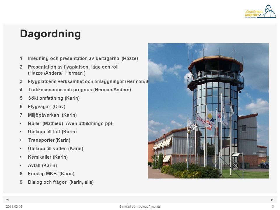 ◄ ► Samråd Jönköpings flygplats2011-02-043 Dagordning 1Inledning och presentation av deltagarna (Hazze) 2Presentation av flygplatsen, läge och roll (H