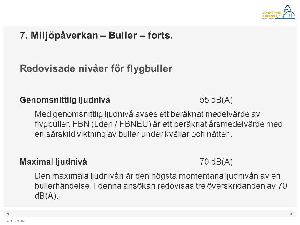 ◄ ► 7. Miljöpåverkan – Buller – forts. Redovisade nivåer för flygbuller Genomsnittlig ljudnivå 55 dB(A) Med genomsnittlig ljudnivå avses ett beräknat