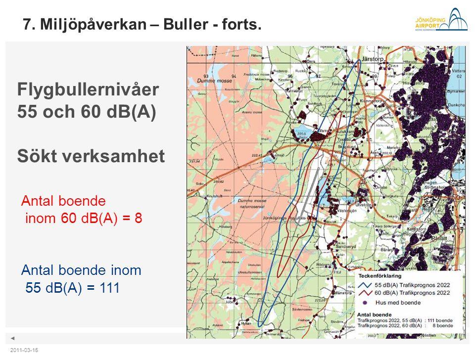 ◄ ► Flygbullernivåer 55 och 60 dB(A) Sökt verksamhet Antal boende inom 60 dB(A) = 8 Antal boende inom 55 dB(A) = 111 7. Miljöpåverkan – Buller - forts