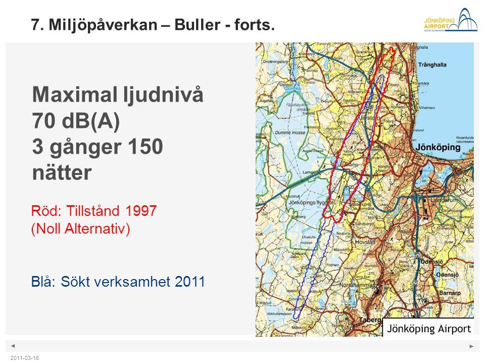 ◄ ► Maximal ljudnivå 70 dB(A) 3 gånger 150 nätter Röd: Tillstånd 1997 (Noll Alternativ) Blå: Sökt verksamhet 2011 7. Miljöpåverkan – Buller - forts. 2
