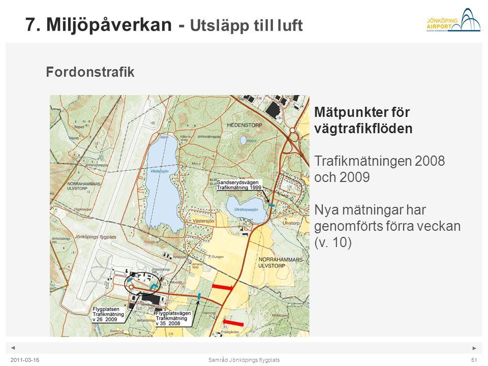 ◄ ► Samråd Jönköpings flygplats2011-03-15 7. Miljöpåverkan - Utsläpp till luft Fordonstrafik Mätpunkter för vägtrafikflöden Trafikmätningen 2008 och 2