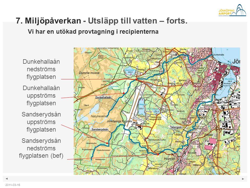 ◄ ► 2011-03-15 7. Miljöpåverkan - Utsläpp till vatten – forts. Vi har en utökad provtagning i recipienterna Förslag till utökad provtagning i recipien