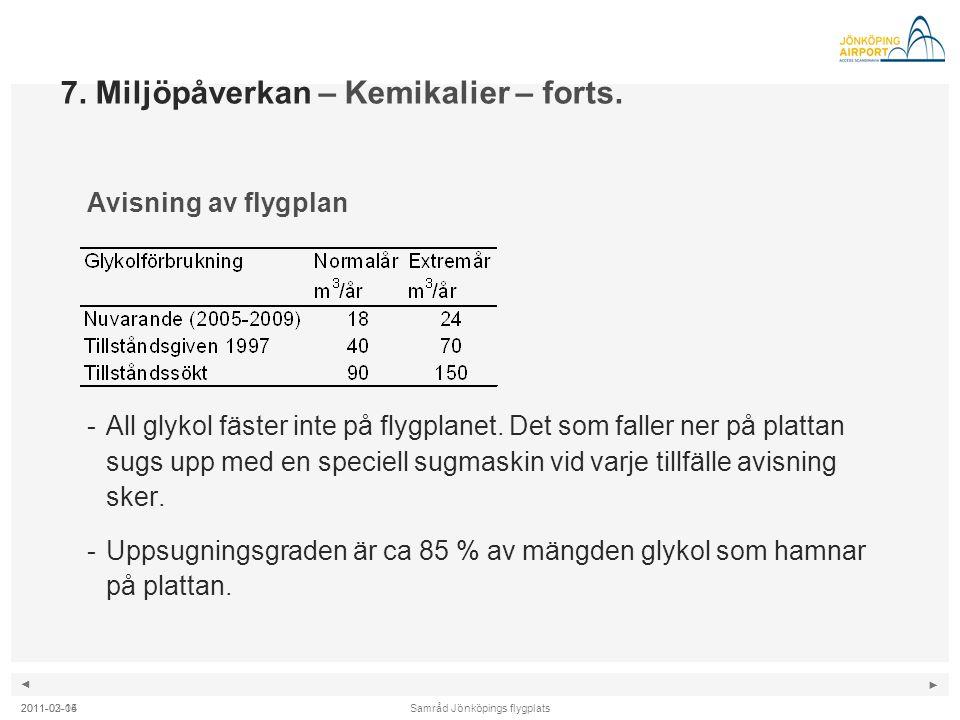 ◄ ► Samråd Jönköpings flygplats2011-02-04 7. Miljöpåverkan – Kemikalier – forts. Avisning av flygplan -All glykol fäster inte på flygplanet. Det som f