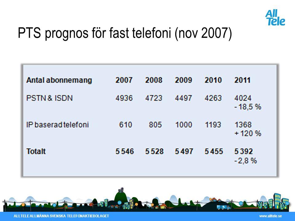 ALLTELE ALLMÄNNA SVENSKA TELEFONAKTIEBOLAGET www.alltele.se PTS prognos för fast telefoni (nov 2007)