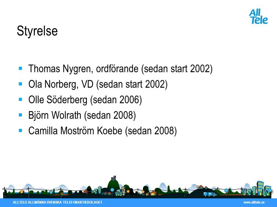ALLTELE ALLMÄNNA SVENSKA TELEFONAKTIEBOLAGET www.alltele.se Styrelse  Thomas Nygren, ordförande (sedan start 2002)  Ola Norberg, VD (sedan start 200