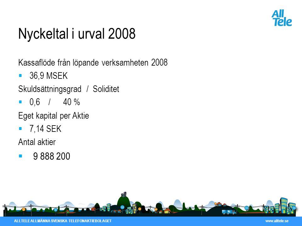 ALLTELE ALLMÄNNA SVENSKA TELEFONAKTIEBOLAGET www.alltele.se Nyckeltal i urval 2008 Kassaflöde från löpande verksamheten 2008  36,9 MSEK Skuldsättning