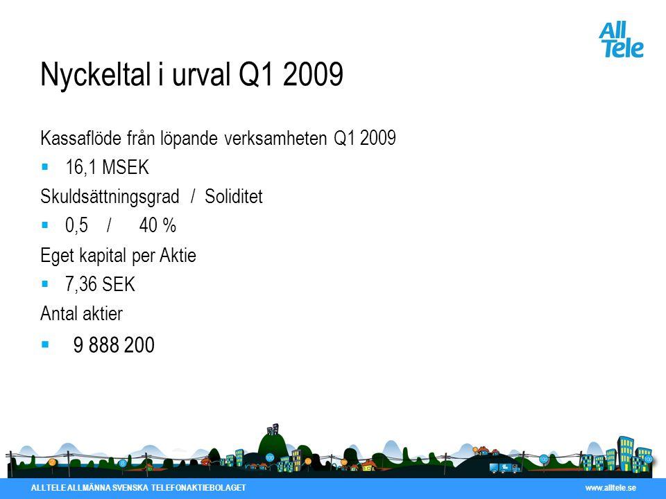ALLTELE ALLMÄNNA SVENSKA TELEFONAKTIEBOLAGET www.alltele.se Nyckeltal i urval Q1 2009 Kassaflöde från löpande verksamheten Q1 2009  16,1 MSEK Skuldsä