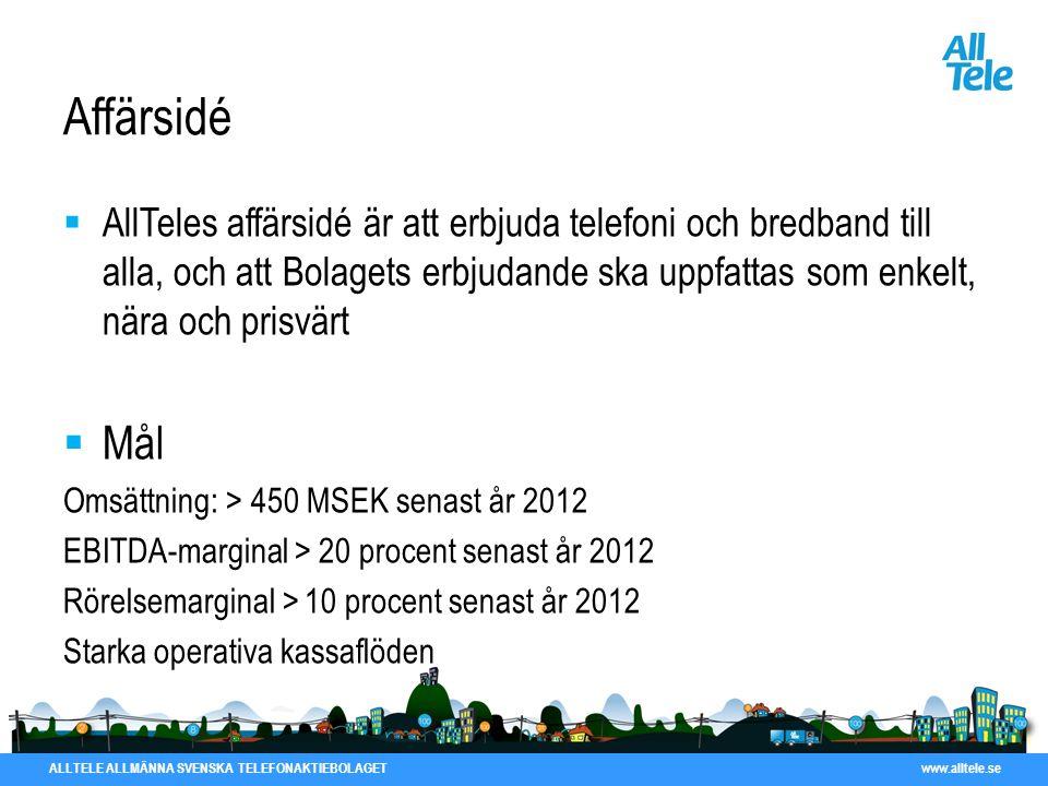 ALLTELE ALLMÄNNA SVENSKA TELEFONAKTIEBOLAGET www.alltele.se Affärsidé  AllTeles affärsidé är att erbjuda telefoni och bredband till alla, och att Bol