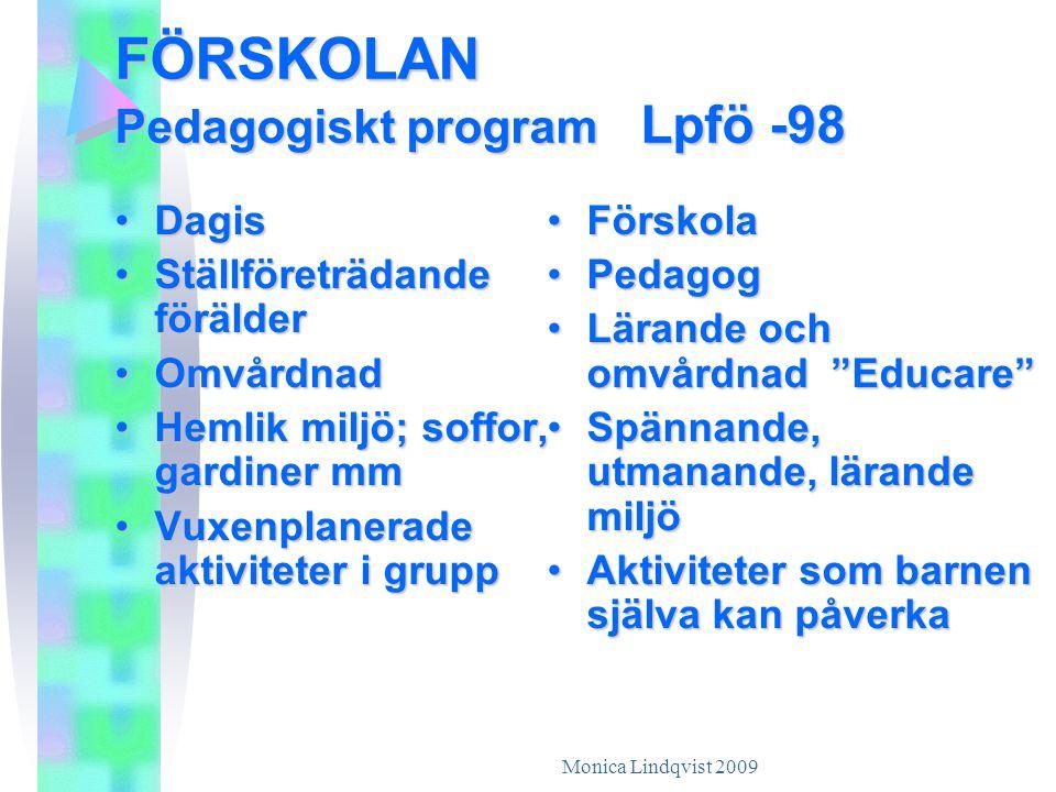 FÖRSKOLAN Pedagogiskt program Lpfö -98 •D•D•D•Dagis •S•S•S•Ställföreträdande förälder •O•O•O•Omvårdnad •H•H•H•Hemlik miljö; soffor, gardiner mm •V•V•V•Vuxenplanerade aktiviteter i grupp •F•F•F•Förskola •P•P•P•Pedagog •L•L•L•Lärande och omvårdnad Educare •S•S•S•Spännande, utmanande, lärande miljö •A•A•A•Aktiviteter som barnen själva kan påverka