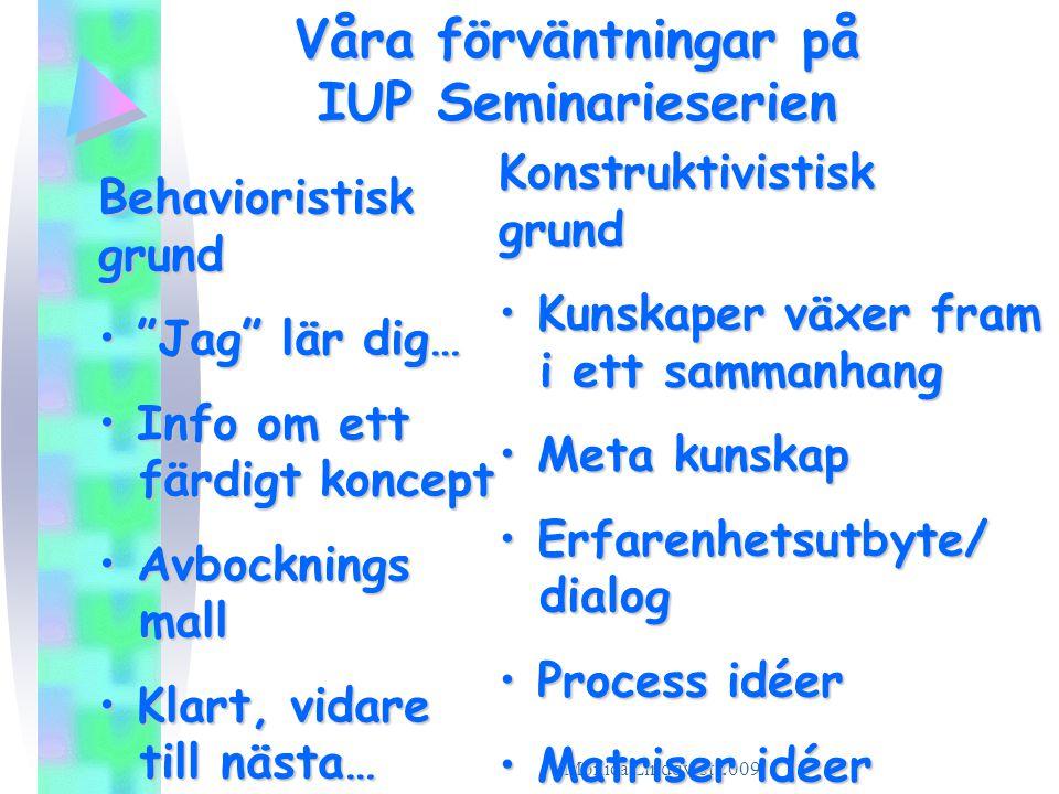 Monica Lindqvist 2009 Våra förväntningar på IUP Seminarieserien Behavioristisk grund • • • • Jag lär dig… • I• I• I• Info om ett färdigt koncept • A• A• A• Avbocknings mall • K• K• K• Klart, vidare till nästa… Konstruktivistisk grund • K• K• K• Kunskaper växer fram i ett sammanhang • M• M• M• Meta kunskap • E• E• E• Erfarenhetsutbyte/ dialog • P• P• P• Process idéer • M• M• M• Matriser idéer