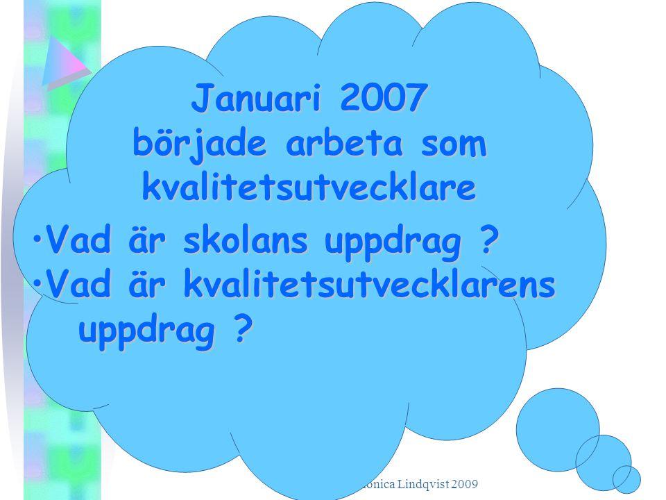 Januari 2007 började arbeta som kvalitetsutvecklare •V•V•V•Vad är skolans uppdrag ? •V•V•V•Vad är kvalitetsutvecklarens uppdrag ?