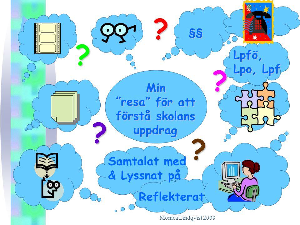 """Monica Lindqvist 2009 Min """"resa"""" för att förstå skolans uppdrag ? ? ? ? ? Lpfö, Lpo, Lpf §§ Reflekterat Samtalat med & Lyssnat på"""