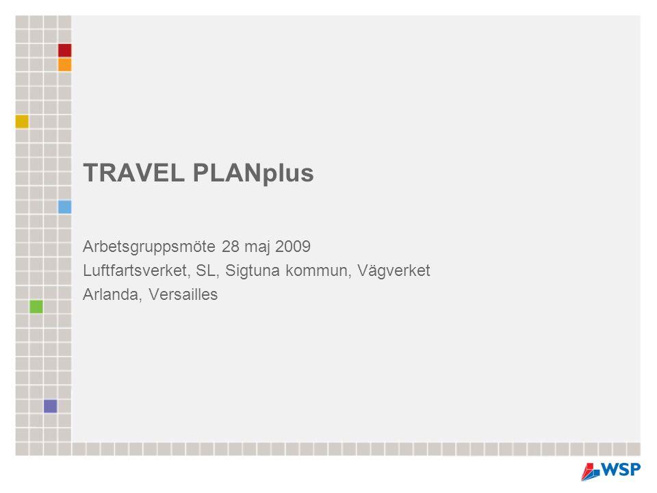 TRAVEL PLANplus Arbetsgruppsmöte 28 maj 2009 Luftfartsverket, SL, Sigtuna kommun, Vägverket Arlanda, Versailles