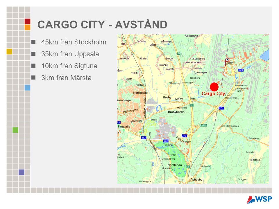 CARGO CITY - AVSTÅND  45km från Stockholm  35km från Uppsala  10km från Sigtuna  3km från Märsta Cargo City