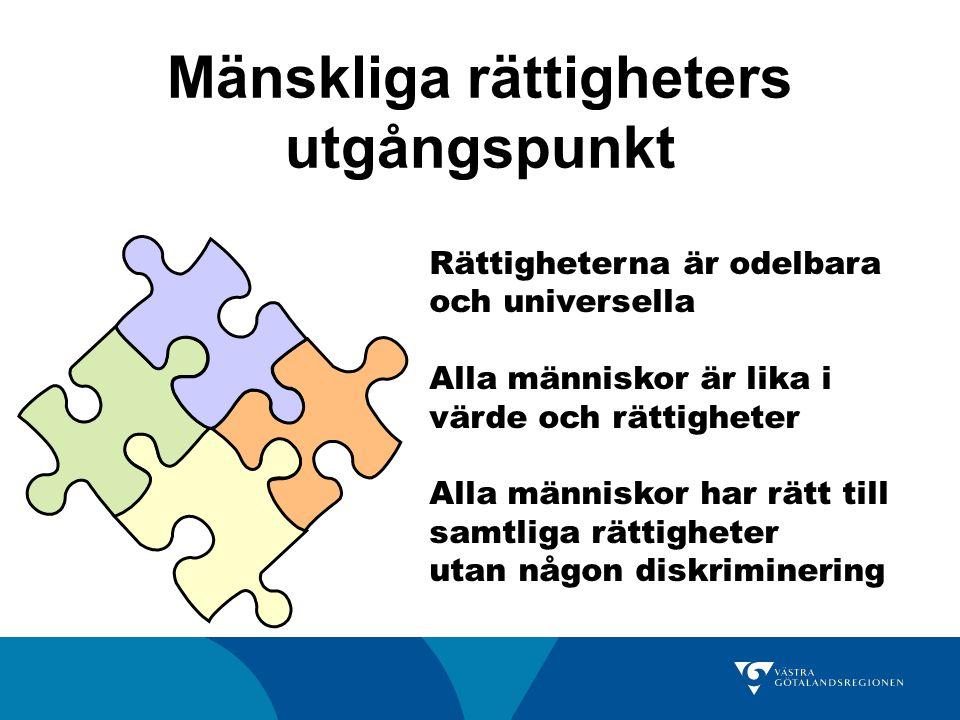 Mänskliga rättigheters utgångspunkt Rättigheterna är odelbara och universella Alla människor är lika i värde och rättigheter Alla människor har rätt till samtliga rättigheter utan någon diskriminering