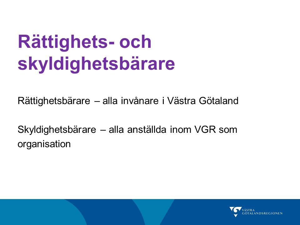 Rättighets- och skyldighetsbärare Rättighetsbärare – alla invånare i Västra Götaland Skyldighetsbärare – alla anställda inom VGR som organisation