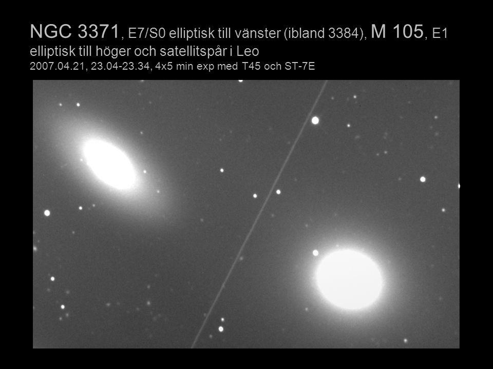 NGC 3371, E7/S0 elliptisk till vänster (ibland 3384), M 105, E1 elliptisk till höger och satellitspår i Leo 2007.04.21, 23.04-23.34, 4x5 min exp med T