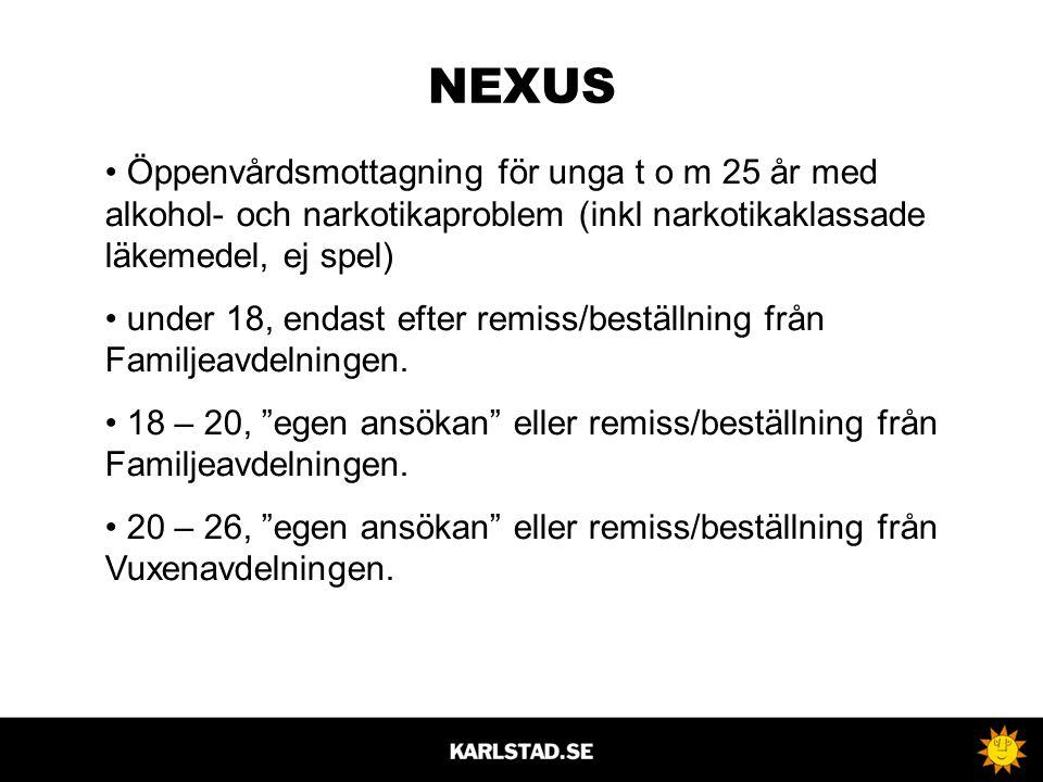NEXUS • Öppenvårdsmottagning för unga t o m 25 år med alkohol- och narkotikaproblem (inkl narkotikaklassade läkemedel, ej spel) • under 18, endast efter remiss/beställning från Familjeavdelningen.