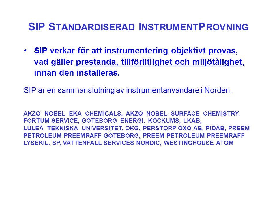 •SIP verkar för att instrumentering objektivt provas, vad gäller prestanda, tillförlitlighet och miljötålighet, innan den installeras.
