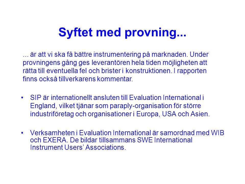 SIP Standardiserad instrumentprovning c/o itf:s kansli Box 22307, 104 22 STOCKHOLM ordförande Swen Ytterman tel 031-27 30 15 e-post ordf@sip-norden.org tekn.sekr.