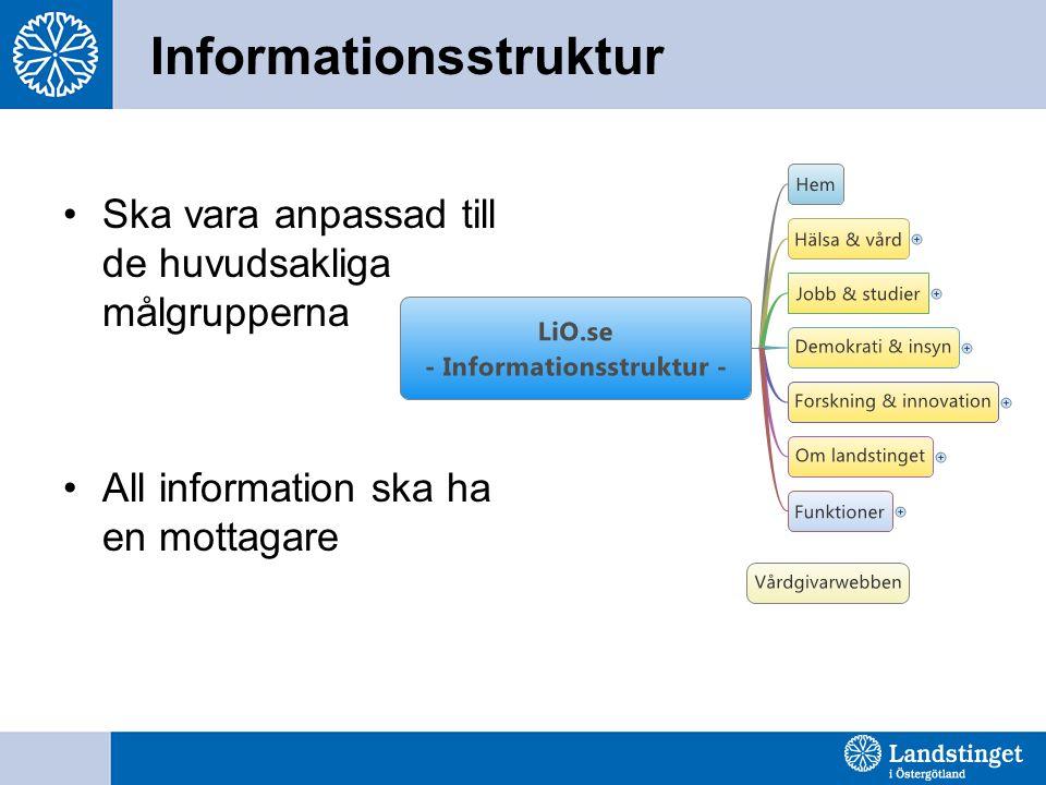 Informationsstruktur •Ska vara anpassad till de huvudsakliga målgrupperna •All information ska ha en mottagare