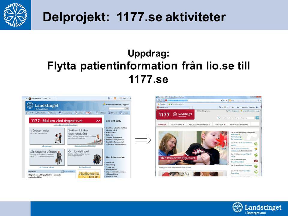 Delprojekt: 1177.se aktiviteter Uppdrag: Flytta patientinformation från lio.se till 1177.se
