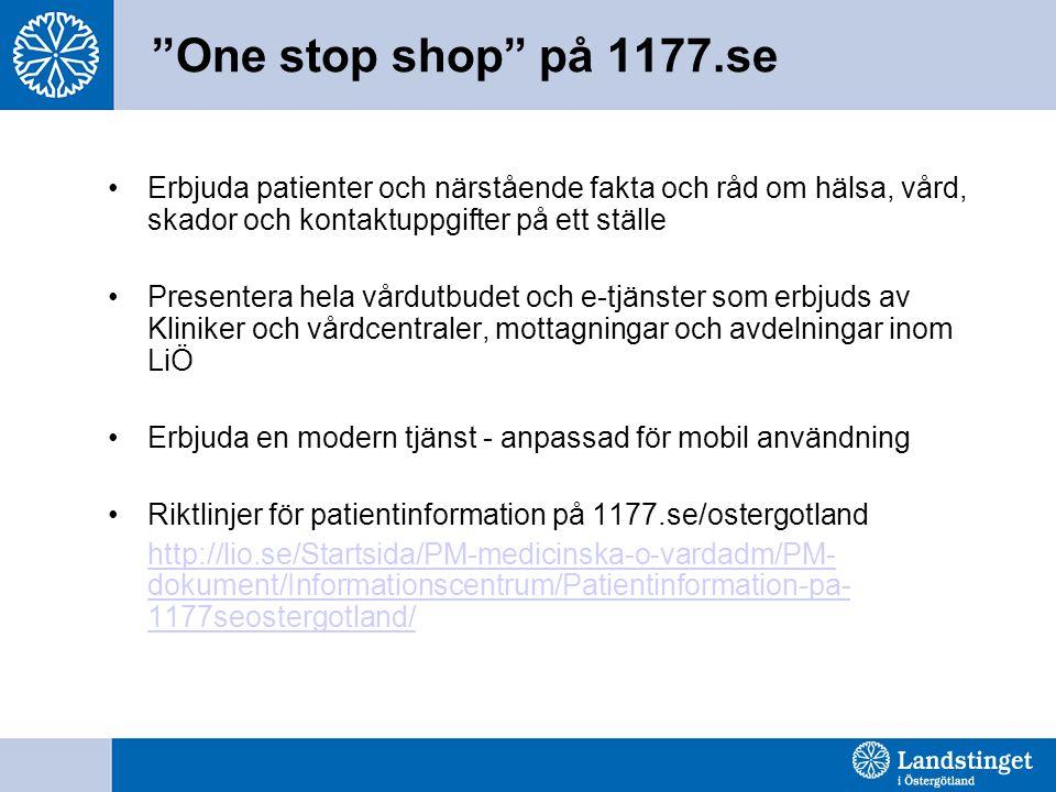 One stop shop på 1177.se •Erbjuda patienter och närstående fakta och råd om hälsa, vård, skador och kontaktuppgifter på ett ställe •Presentera hela vårdutbudet och e-tjänster som erbjuds av Kliniker och vårdcentraler, mottagningar och avdelningar inom LiÖ •Erbjuda en modern tjänst - anpassad för mobil användning •Riktlinjer för patientinformation på 1177.se/ostergotland http://lio.se/Startsida/PM-medicinska-o-vardadm/PM- dokument/Informationscentrum/Patientinformation-pa- 1177seostergotland/