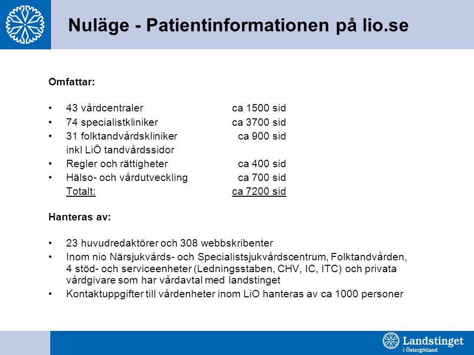Nuläge - Patientinformationen på lio.se Omfattar: •43 vårdcentraler ca 1500 sid •74 specialistkliniker ca 3700 sid •31 folktandvårdsklinikerca 900 sid