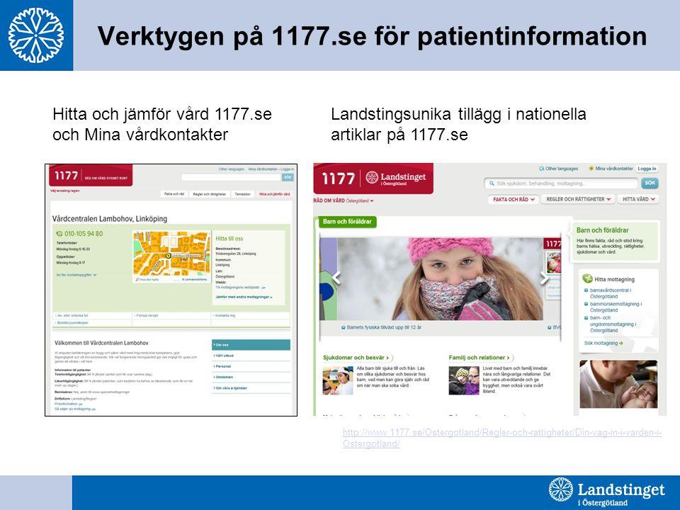 Verktygen på 1177.se för patientinformation Hitta och jämför vård 1177.se och Mina vårdkontakter Landstingsunika tillägg i nationella artiklar på 1177.se http://www.1177.se/Ostergotland/Regler-och-rattigheter/Din-vag-in-i-varden-i- Ostergotland/