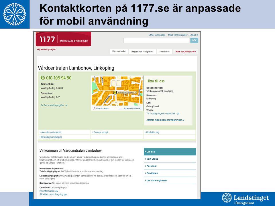 Kontaktkorten på 1177.se är anpassade för mobil användning