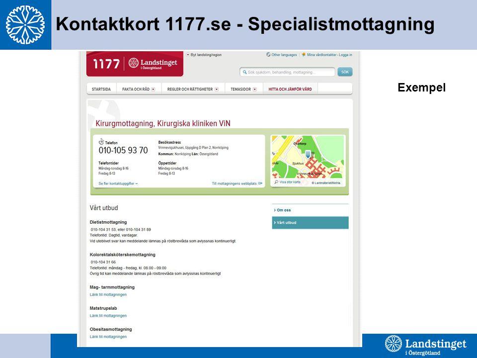 Kontaktkort 1177.se - Specialistmottagning Exempel