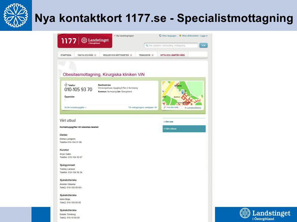 Nya kontaktkort 1177.se - Specialistmottagning