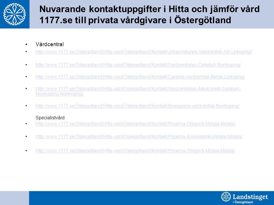 Nuvarande kontaktuppgifter i Hitta och jämför vård 1177.se till privata vårdgivare i Östergötland •Vårdcentral •http://www.1177.se/Ostergotland/Hitta-vard/Ostergotland/Kontakt/Johannelunds-Vardcentral-AB-Linkoping /http://www.1177.se/Ostergotland/Hitta-vard/Ostergotland/Kontakt/Johannelunds-Vardcentral-AB-Linkoping / •http://www.1177.se/Ostergotland/Hitta-vard/Ostergotland/Kontakt/Vardcentralen-Ostertull-Norrkoping/http://www.1177.se/Ostergotland/Hitta-vard/Ostergotland/Kontakt/Vardcentralen-Ostertull-Norrkoping/ •http://www.1177.se/Ostergotland/Hitta-vard/Ostergotland/Kontakt/Carema-vardcentral-Berga-Linkoping/http://www.1177.se/Ostergotland/Hitta-vard/Ostergotland/Kontakt/Carema-vardcentral-Berga-Linkoping/ •http://www.1177.se/Ostergotland/Hitta-vard/Ostergotland/Kontakt/Vardcentralen-Medicinskt-Centrum- Norrkoping-Norrkoping/http://www.1177.se/Ostergotland/Hitta-vard/Ostergotland/Kontakt/Vardcentralen-Medicinskt-Centrum- Norrkoping-Norrkoping/ •http://www.1177.se/Ostergotland/Hitta-vard/Ostergotland/Kontakt/Kneippens-vardcentral-Norrkoping/http://www.1177.se/Ostergotland/Hitta-vard/Ostergotland/Kontakt/Kneippens-vardcentral-Norrkoping/ Specialistvård •http://www.1177.se/Ostergotland/Hitta-vard/Ostergotland/Kontakt/Proxima-Ortopedi-Motala-Motala/http://www.1177.se/Ostergotland/Hitta-vard/Ostergotland/Kontakt/Proxima-Ortopedi-Motala-Motala/ •http://www.1177.se/Ostergotland/Hitta-vard/Ostergotland/Kontakt/Proxima-Kvinnoklinik-Motala-Motala/http://www.1177.se/Ostergotland/Hitta-vard/Ostergotland/Kontakt/Proxima-Kvinnoklinik-Motala-Motala/ •http://www.1177.se/Ostergotland/Hitta-vard/Ostergotland/Kontakt/Proxima-Ortopedi-Motala-Motala/http://www.1177.se/Ostergotland/Hitta-vard/Ostergotland/Kontakt/Proxima-Ortopedi-Motala-Motala/